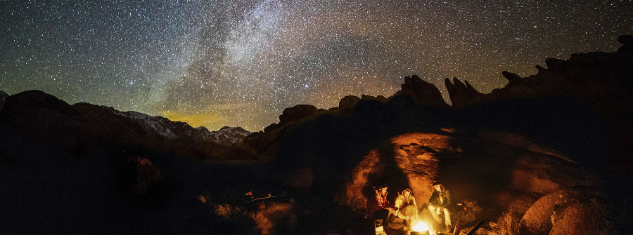 Campfire and starry sky